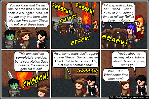 "Strip 392 - ""Evasion lets you avoid ALL the fire damage"""